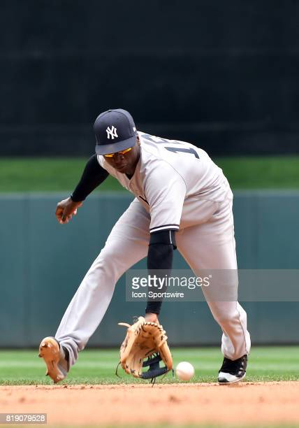New York Yankees Shortstop Didi Gregorius fields a ground ball during a MLB game between the Minnesota Twins and New York Yankees on July 19 2017 at...