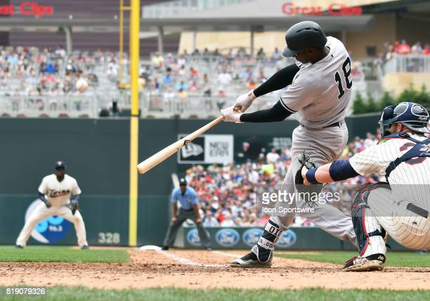 New York Yankees Shortstop Didi Gregorius makes contact during a MLB game between the Minnesota Twins and New York Yankees on July 19 2017 at Target...