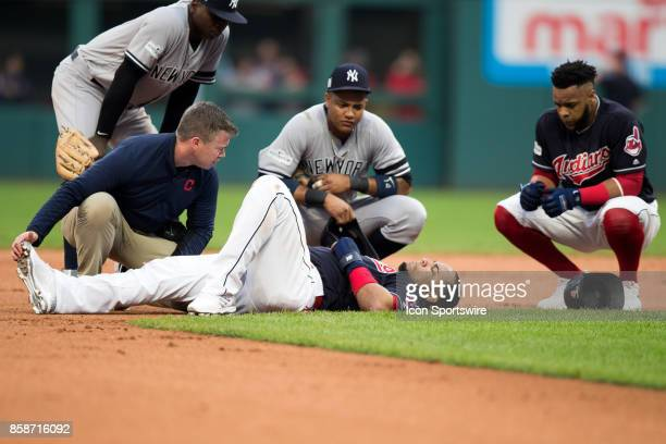 New York Yankees shortstop Didi Gregorius New York Yankees second baseman Starlin Castro and Cleveland Indians first baseman Carlos Santana look on...