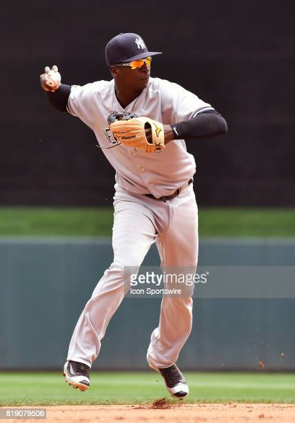 New York Yankees Shortstop Didi Gregorius throws to 1st during a MLB game between the Minnesota Twins and New York Yankees on July 19 2017 at Target...