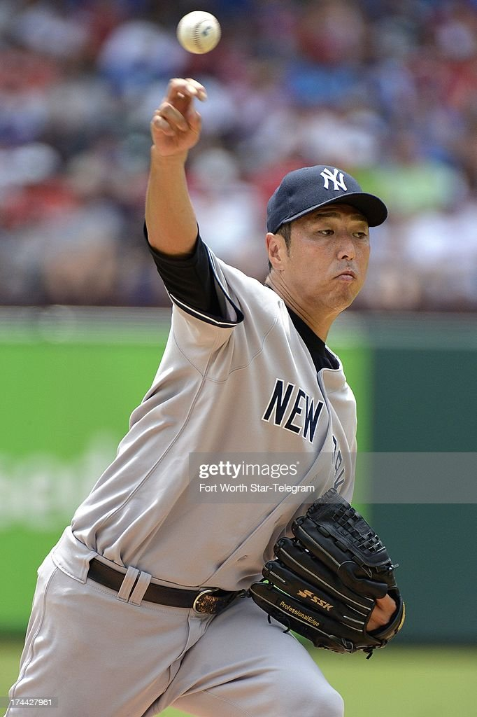 New York Yankees starting pitcher Hiroki Kuroda works in the first inning against the Texas Rangers at the Rangers Ballpark in Arlington on Thursday, July 25, 2013, in Arlington, Texas. New York prevailed, 2-0.