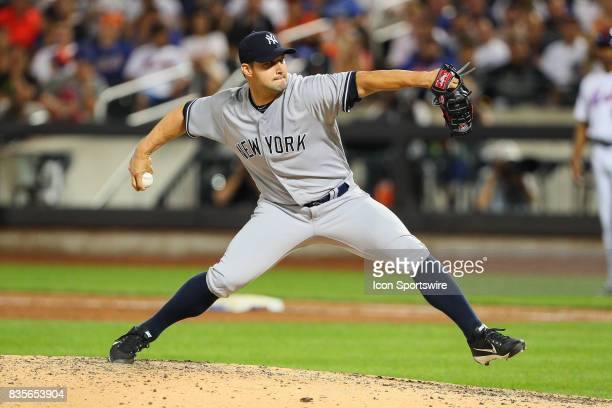 New York Yankees starting pitcher Jaime Garcia pitches during the Major League Baseball game between the New York Mets and the New York Yankees on...