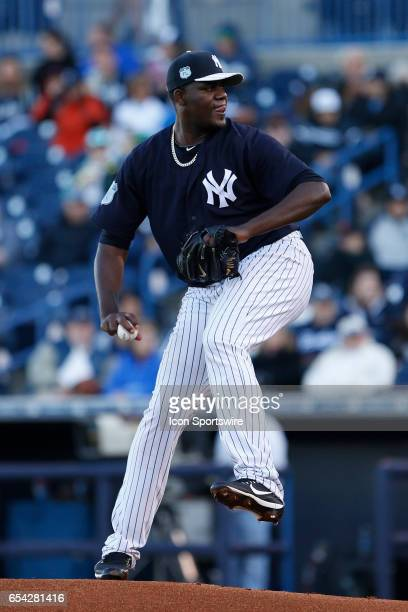 New York Yankees starting pitcher Michael Pineda delivers a pitch during the Spring Training game between the Philadelphia Phillies and New York...