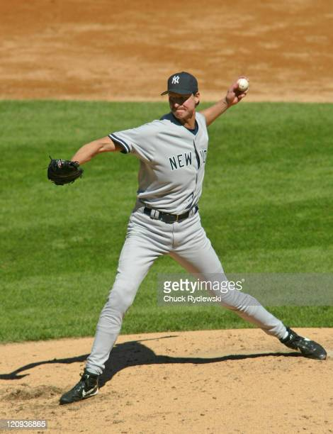 New York Yankees starting pitcher Randy Johnson during the game against the Chicago White Sox August 21 2005 at US Cellular Field in Chicago Illinois...