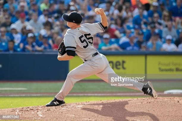 New York Yankees Starting pitcher Sonny Gray pitches during the regular season MLB game between the New York Yankees and the Toronto Blue Jays on...