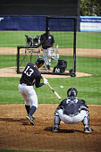 New York Yankees third baseman Alex Rodriguez flies out Intrasquad game played with a pitching machine nicknamed 'Iron Mike' Yankees Spring Training...