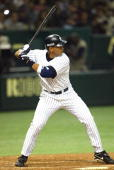 New York Yankees third baseman Alex Rodriguez stands at the plate during an exhibition game against the Yomiuri Giants March 28 2004 at Tokyo Dome in...