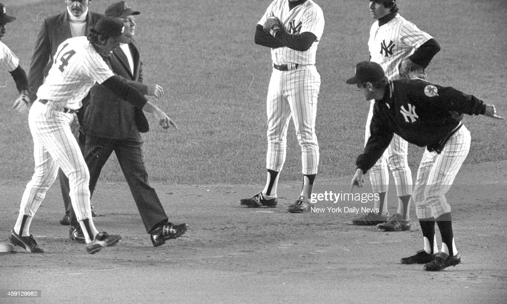 New York Yankees vs Kansas City Royals Irate Billy Martin shows umpire where he thought McRae strayed from straight and narrow