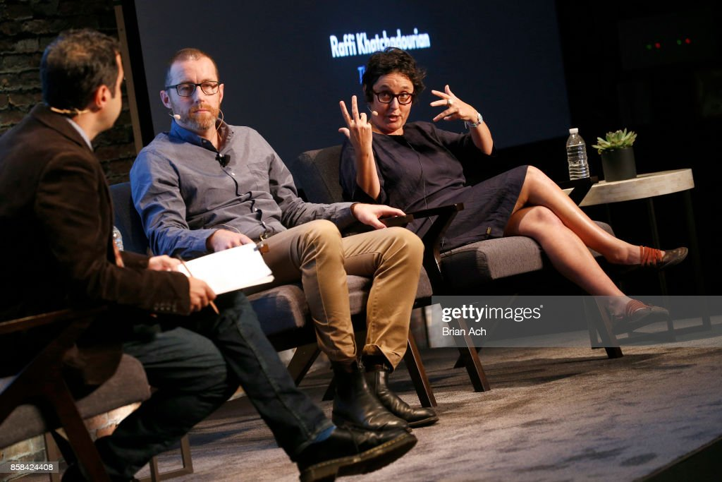 New Yorker staff writer Raffi Khatchadourian, Cyber-Warfare Expert Thomas Rid and Anthropologist Gabriella Coleman speak onstage during the 2017 New Yorker TechFest at Cedar Lake on October 6, 2017 in New York City.