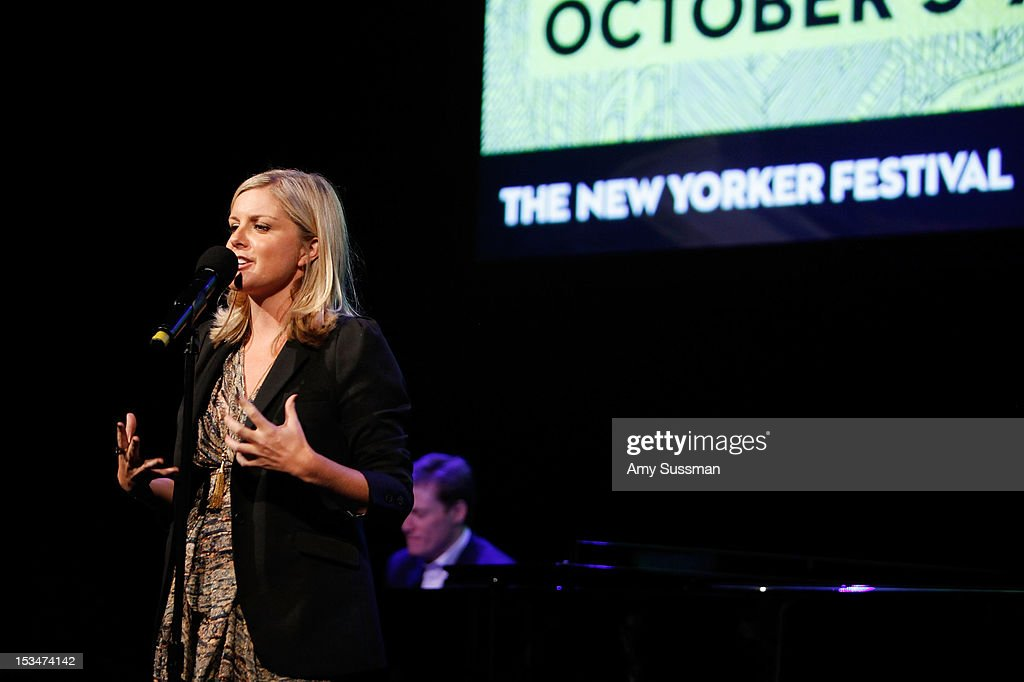 New Yorker wirter Lauren Collins speaks at Tales Out of School 4: A New Yorker Night with The Moth at Acura at SIR Stage37 on October 5, 2012 in New York City.