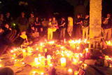 New Yorkers have set up a monument with the words ' to the victims of terrorist attacks' and a candlelight vigil with notes and gifts to commerate...