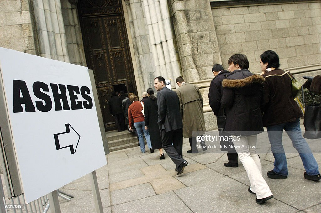 New Yorkers wait in line to receive ashes at St. Patrick's Cathedral on Ash Wednesday, the beginning of the 40 days of Lent that lead to Easter Sunday.