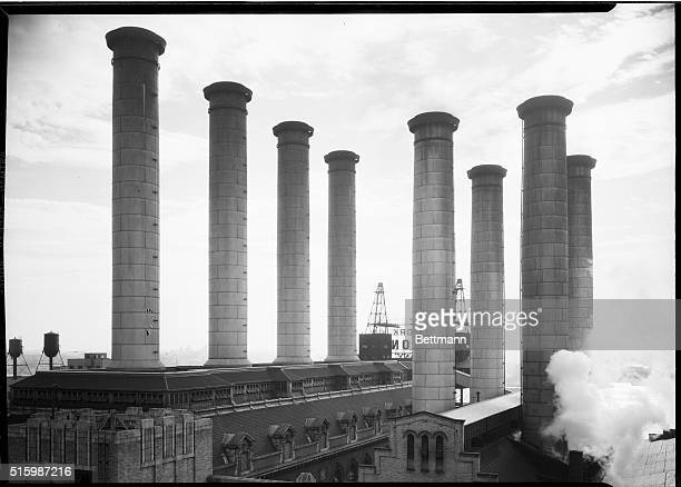 New YorkPhoto shows the smoke stacks of the New York Edison Company Power plant local generated