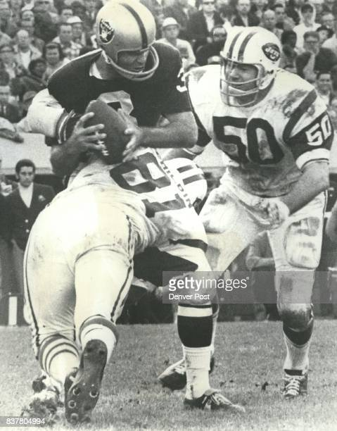 New York's Gerry Philbin Here he unloads an Oakland quarterback Daryle Lamonica Credit The Denver Post