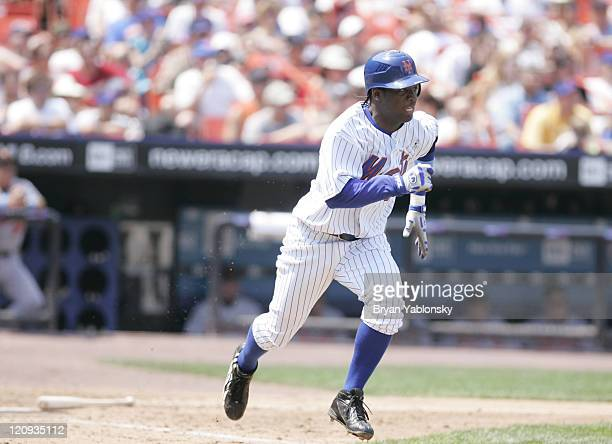 New York's Lastings Milledge runs to first versus Baltimore at Shea Stadium June 18 2006 The Mets defeated the Orioles 94