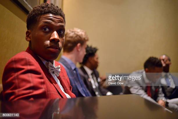 New York's pick Frank Ntilikina looks on during the 2017 NBA Draft on June 22 2017 at Barclays Center in Brooklyn New York NOTE TO USER User...