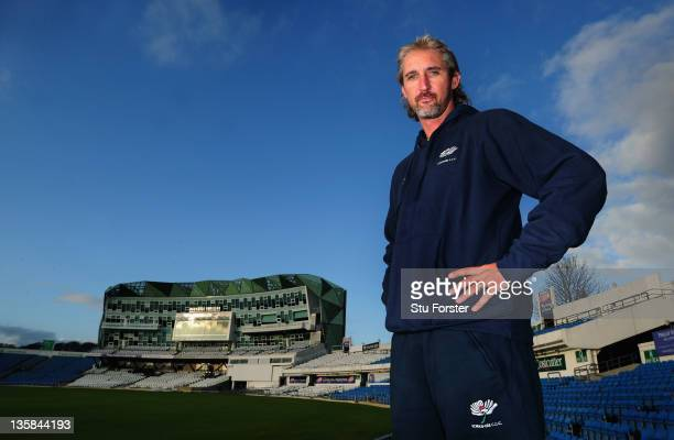 New Yorkshire coach Jason Gillespie stands infront of the pavillion during a press conference at Headingley Cricket club on December 15 2011 in Leeds...