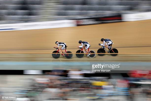 New Zealand 2 consisting of Spencer Griffyn Lachlan Robertson Jared Pidcock and Liam Taylor compete in the Men's Junior Team Pursuit qualifying...
