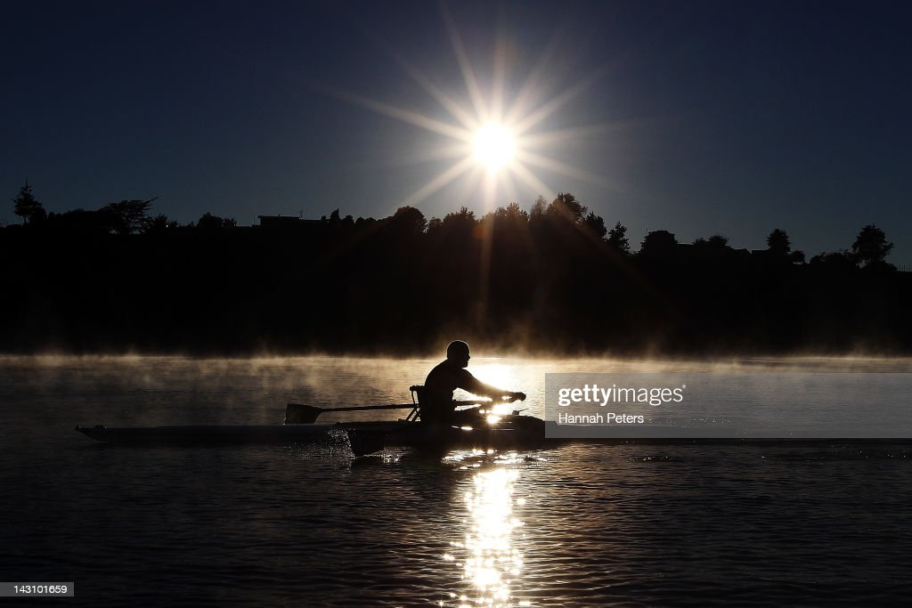 New Zealand adaptive rower Danny McBride trains at Lake Karapiro on April 19, 2012 in Cambridge, New Zealand.
