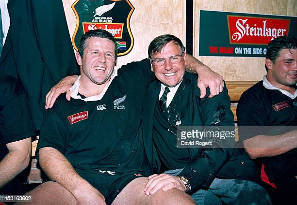 New Zealand all blacks captain Sean Fitzpatrick and coach John Hart celebrate after the 2nd Test match between South Africa springboks and New...