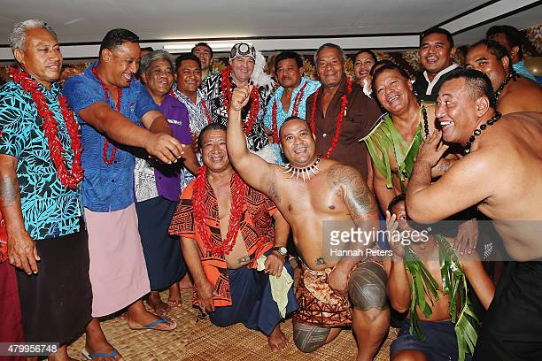 New Zealand All Blacks Head Coach Steve Hansen poses for photos following a ceremony making him a Honorary High Chief Of Vaiala on July 9 2015 in...