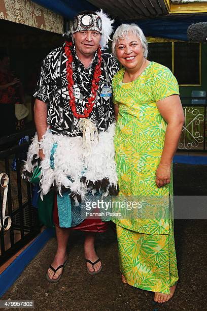New Zealand All Blacks Head Coach Steve Hansen poses for photos prior to a ceremony making him a Honorary High Chief Of Vaiala on July 9 2015 in Apia...