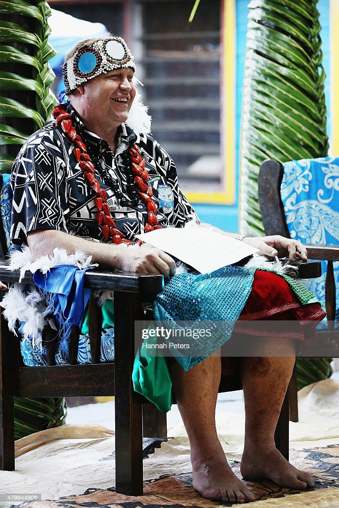 New Zealand All Blacks Head Coach Steve Hansen takes part in a ceremony making him a Honorary High Chief Of Vaiala on July 9, 2015 in Apia, Samoa. Hansen is now known by the Samoan people as Tupuivau Steve Hansen.