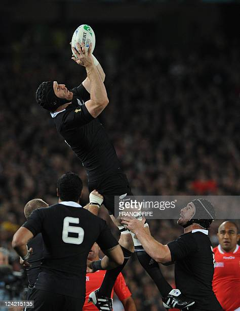 New Zealand All Blacks lock Ali Williams grabs the ball in a lineout during the 2011 Rugby World Cup pool A match between New Zealand and Tonga at...