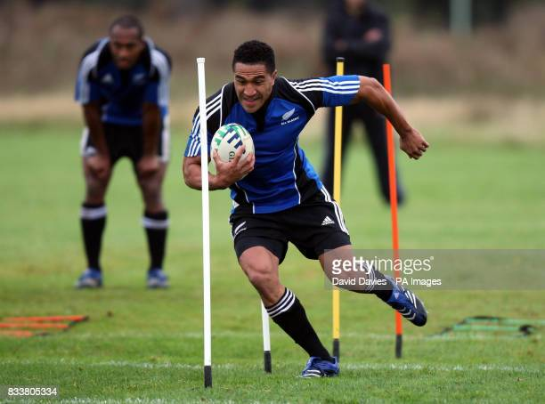 New Zealand All Blacks Mils Muliaina during a training session at The Vale Hensol Vale of Glamorgan