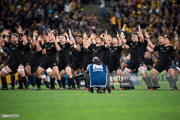 New Zealand All Blacks perform the haka during The Rugby Championship Bledisloe Cup match between the Australian Wallabies and the New Zealand All...