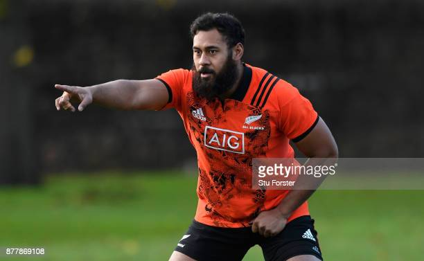 New Zealand All Blacks player Patrick Tuipulotu in action during training prior to Saturday's International against Wales at Sophia Gardens on...