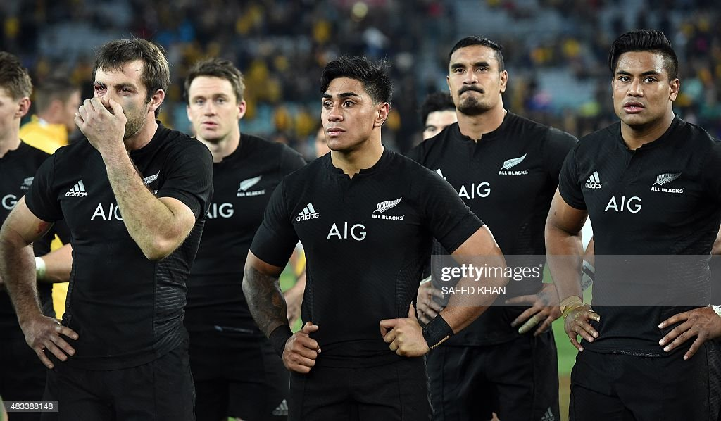New zealand all blacks players react following their defeat against