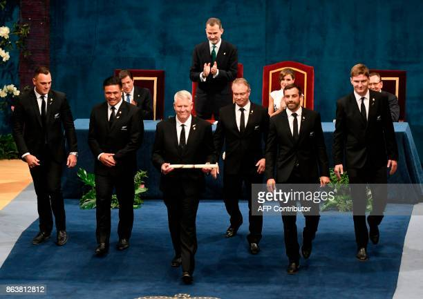 New Zealand All Blacks rugby players Israel Dagg and Keven Mealamu manager Steve Tew former player Grant Fox players Conrad Smith and Jordie Barrett...