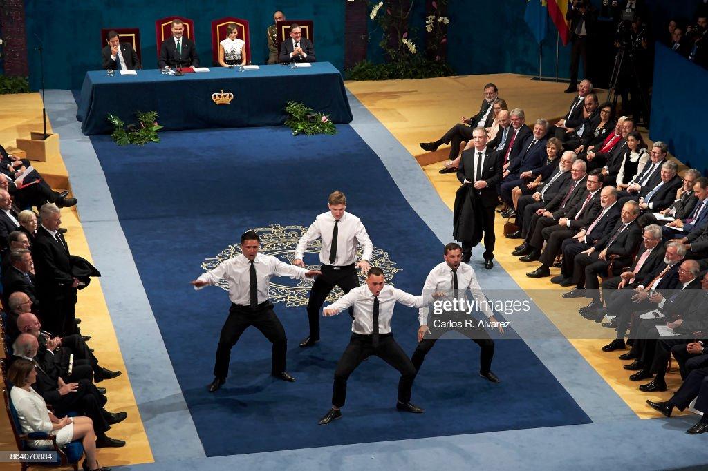 New Zealand All Blacks rugby players receive the Princesa de Asturias Awards 2017 for Sport at the Campoamor Theater on October 20, 2017 in Oviedo, Spain.
