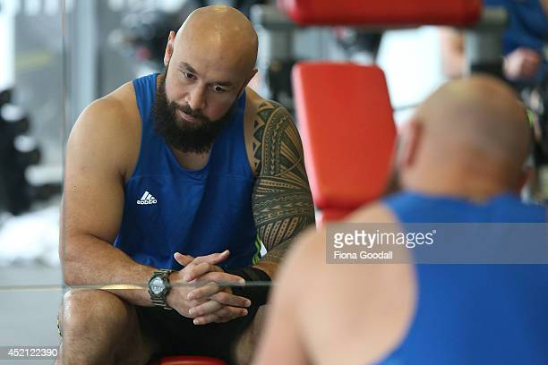 New Zealand All Blacks Sevens player DJ Forbes in the gym during the New Zealand Commonwealth Games Rugby Sevens Media Opportunity at Next Generation...