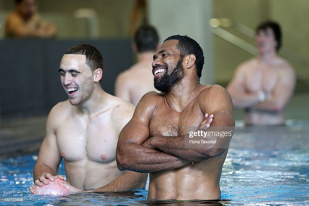 New Zealand All Blacks Sevens player <a gi-track='captionPersonalityLinkClicked' href=/galleries/search?phrase=Lote+Raikabula&family=editorial&specificpeople=596928 ng-click='$event.stopPropagation()'>Lote Raikabula</a> in the pool during the New Zealand Commonwealth Games Rugby Sevens Media Opportunity at Next Generation Gym on July 14, 2014 in Auckland, New Zealand.