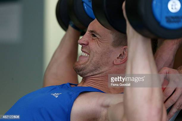 New Zealand All Blacks Sevens player Scott Curry in the gym during the New Zealand Commonwealth Games Rugby Sevens Media Opportunity at Next...