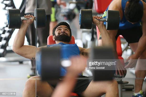New Zealand All Blacks Sevens player Sherwin Stowers in the gym during the New Zealand Commonwealth Games Rugby Sevens Media Opportunity at Next...