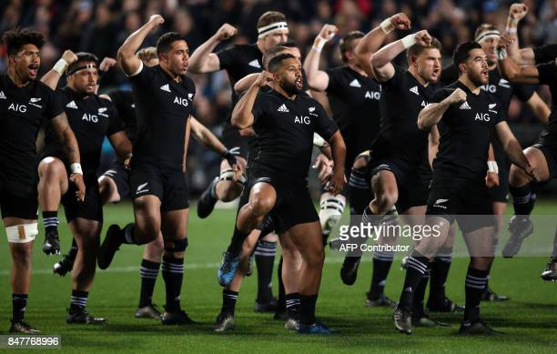 New Zealand All players the haka during the Rugby Championship match between New Zealand and South Africa at Albany Stadium in Auckland on September...