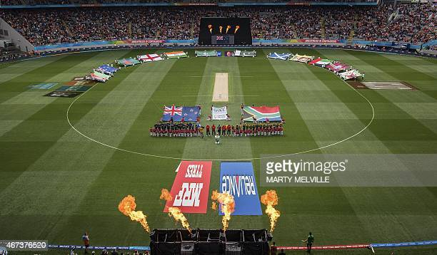 New Zealand and South Africa players stand for their national anthems during the Cricket World Cup Semi Final match between New Zealand and South...