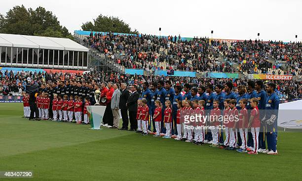 New Zealand and Sri Lanka lineup for their respective National Anthems during the 2015 ICC Cricket World Cup match between Sri Lanka and New Zealand...