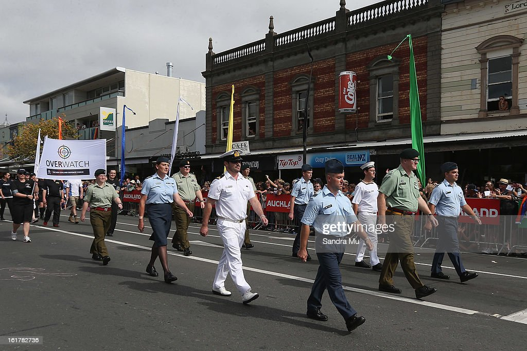 New Zealand Army, Navy and Air Force participate in the Pride parade on February 16, 2013 in Auckland, New Zealand. The gay parade, celebrating lesbian, gay, bisexual and transgender (LGBT) culture has returned to Ponsonby Road after 10 years and organisers plan to put the parade on the tourism map, in the style of the Sydney Mardi Gras.