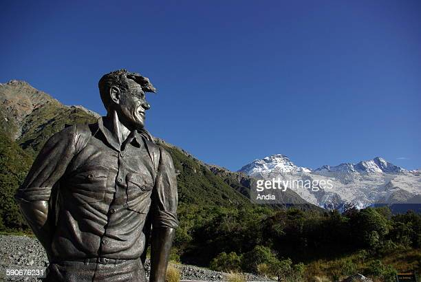 New Zealand at Mount Cook Village on a terrace of the Hermitage Hotel facing Aoraki/Mount Cook highest mountain in New Zealand sits imposingly a...