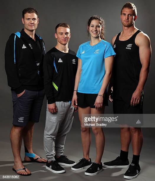 New Zealand athletes Stuart Farquhar Javellin Dylan Schmidt Trampolin Eliza McCartney Pole Vaulter and Scott Curry Rugby Sevens pose at the Prime...
