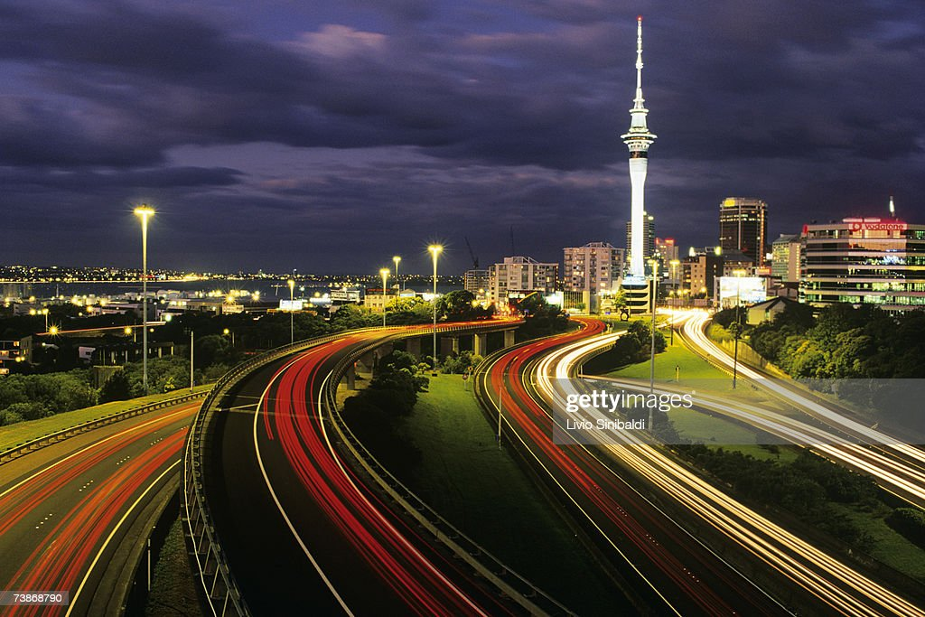 new zealand auckland auckland motorway at night stock. Black Bedroom Furniture Sets. Home Design Ideas