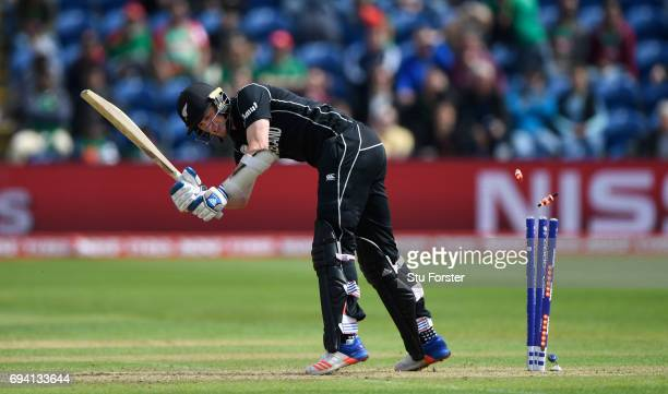 New Zealand batsman Adam Milne is bowled by Mustafizur Rahman during the ICC Champions Trophy match between New Zealand and Bangladesh at SWALEC...