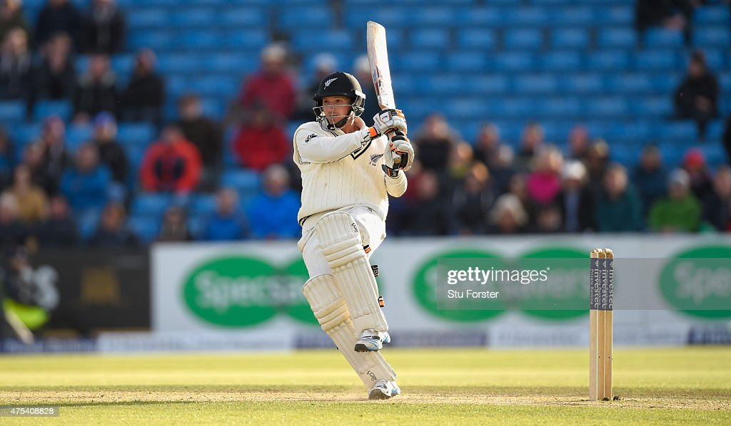New Zealand batsman BJ Watling hits out during day three of the 2nd Investec test match between England and New Zealand at Headingley on May 31 2015...