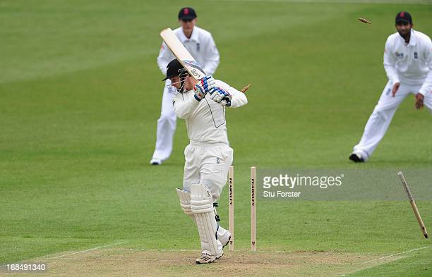 New Zealand batsman BJ Watling is bowled by Chris Woakes during day two of the tour match between England Lions and New Zealand at Grace Road on May...