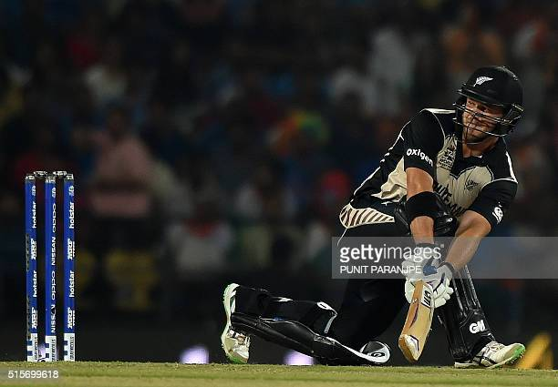 New Zealand batsman Corey Anderson plays a shot during the World T20 cricket tournament match between India and New Zealand at The Vidarbha Cricket...