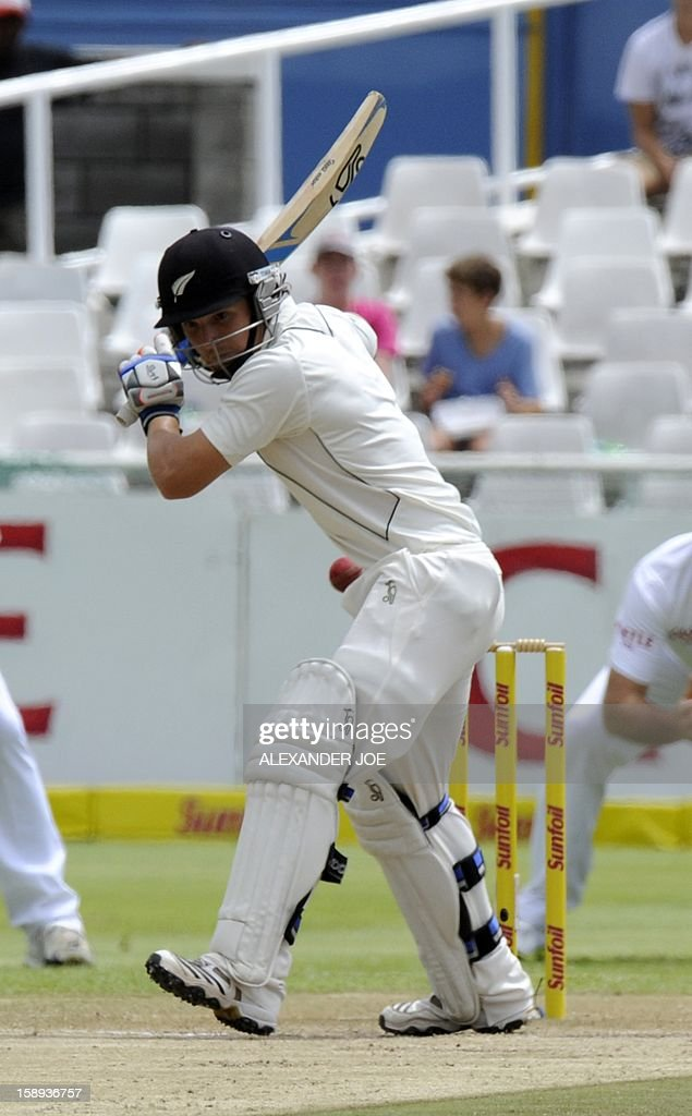 New Zealand batsman Dean Brownile lets a wide ball go on a ball on day 3 of the first Test match between South Africa and New Zealand, in Cape Town at Newlands on January 4, 2013.